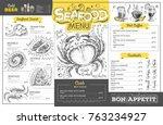 vintage seafood menu design.... | Shutterstock .eps vector #763234927