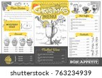 vintage holiday christmas menu... | Shutterstock .eps vector #763234939
