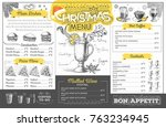 vintage holiday christmas menu... | Shutterstock .eps vector #763234945