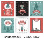 a set of posters or postcards... | Shutterstock .eps vector #763237369