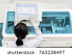 woman working in a laboratory... | Shutterstock . vector #763238497