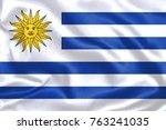uruguay fabric flag | Shutterstock . vector #763241035