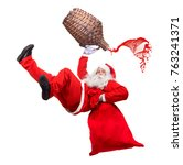 funny santa claus falls with a... | Shutterstock . vector #763241371