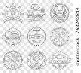 vector set of seafood labels | Shutterstock .eps vector #763242814