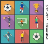 icons of young people playing... | Shutterstock .eps vector #763242871