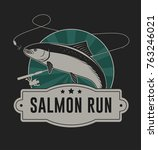 Salmon run badge illustration for t shirt and other uses