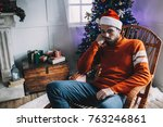 another close up of unhappy and ... | Shutterstock . vector #763246861