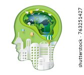green nature and eco friendly... | Shutterstock .eps vector #763251427