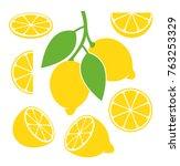lemon set. isolated lemon on... | Shutterstock .eps vector #763253329