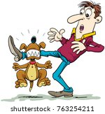 xdog attacking  scared man... | Shutterstock .eps vector #763254211