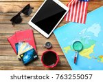 composition with passports ... | Shutterstock . vector #763255057