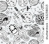 seamless pattern of space... | Shutterstock .eps vector #763258015