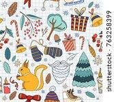 merry christmas doodle seamless ... | Shutterstock .eps vector #763258399