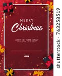 marry christmas and happy new... | Shutterstock .eps vector #763258519