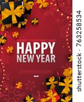 marry christmas and happy new... | Shutterstock .eps vector #763258534
