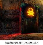 open danger door with caution...   Shutterstock . vector #76325887