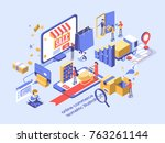 electronic commerce concept... | Shutterstock .eps vector #763261144