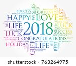 2018 year greeting word cloud... | Shutterstock .eps vector #763264975