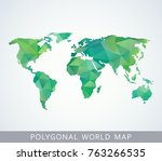 polygonal world map for... | Shutterstock .eps vector #763266535
