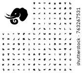 elephant icon illustration... | Shutterstock .eps vector #763267531