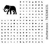 elephant icon illustration... | Shutterstock .eps vector #763268131