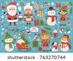big new year set of characters... | Shutterstock .eps vector #763270744