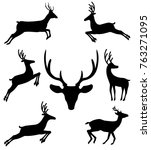 set of black silhouettes of... | Shutterstock .eps vector #763271095