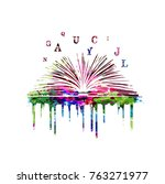 colorful book with alphabet... | Shutterstock .eps vector #763271977