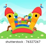 bounce,bouncy,bouncy castle,boy,cartoon,castle,child,colorful,daisy,energy,enjoy,ethnicity,female,flower,friendship