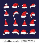 santa claus red hat isolated... | Shutterstock . vector #763276255