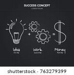 idea and work is equal to... | Shutterstock .eps vector #763279399