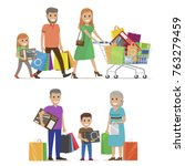 family out on shopping two sets ... | Shutterstock .eps vector #763279459
