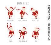 set of active santa fitness to... | Shutterstock .eps vector #763280269