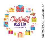 christmas sale clearance poster ... | Shutterstock .eps vector #763280347