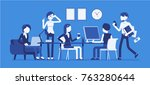 busy day in a small office.... | Shutterstock .eps vector #763280644