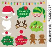 christmas decoration and photo... | Shutterstock .eps vector #763280737
