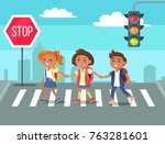 children crossing road against... | Shutterstock .eps vector #763281601