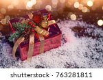 red gift on christmas | Shutterstock . vector #763281811