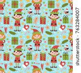 vector seamless pattern with... | Shutterstock .eps vector #763284007