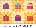 set of gift boxes in decorative ... | Shutterstock .eps vector #763284151