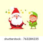 santa has idea shown by stars... | Shutterstock .eps vector #763284235