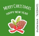 merry christmas and happy new... | Shutterstock .eps vector #763284451