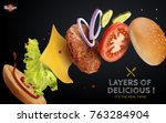 jumping burger ads  delicious... | Shutterstock .eps vector #763284904