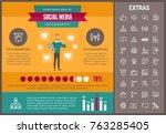 social media infographic... | Shutterstock .eps vector #763285405