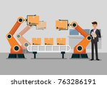 bussinessman using tablet to... | Shutterstock .eps vector #763286191