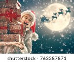 merry christmas  cute little... | Shutterstock . vector #763287871