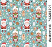 vector seamless pattern with... | Shutterstock .eps vector #763288504