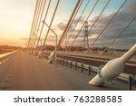 sidewalk and highway going... | Shutterstock . vector #763288585
