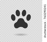 animal paw print. dog paw with... | Shutterstock .eps vector #763290241