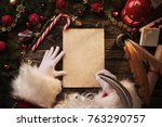 close up of santa claus hands... | Shutterstock . vector #763290757